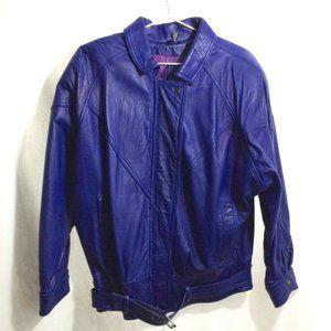 Vintage Belted Leather Bomber Jacket, Sz M